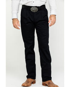 Wrangler Men's Black Casual Flat Front Western Pants , Black, hi-res