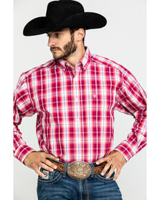 Ariat Men's Uzeman Large Plaid Long Sleeve Western Shirt , Red, hi-res