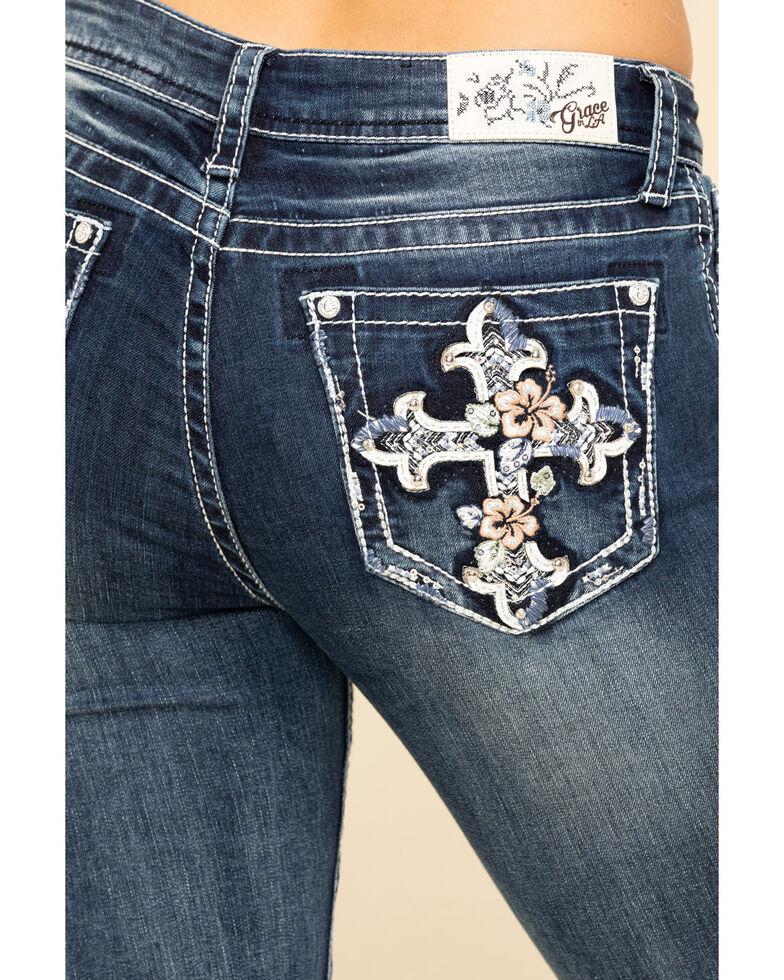 Grace in LA Women's Tropical Floral Cross Bootcut Jeans , Blue, hi-res