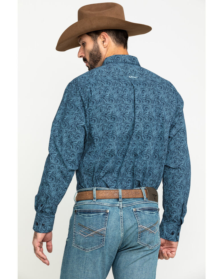 Ariat Men's Longmont Stretch Paisley Print Long Sleeve Western Shirt , , hi-res