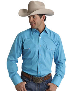 Roper Men's Broadcloth Solid Long Sleeve Western Shirt, Turquoise, hi-res