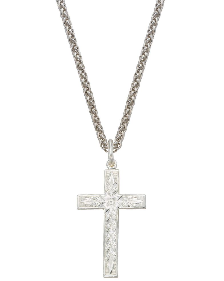 Montana Silversmiths Silver Engraved Cross Necklace, Silver, hi-res