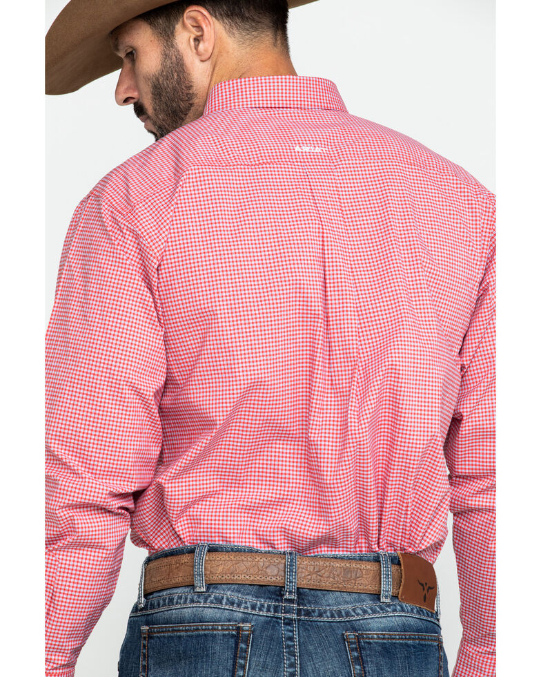 Ariat Men's Grover Small Plaid Long Sleeve Western Shirt - Tall , Red, hi-res