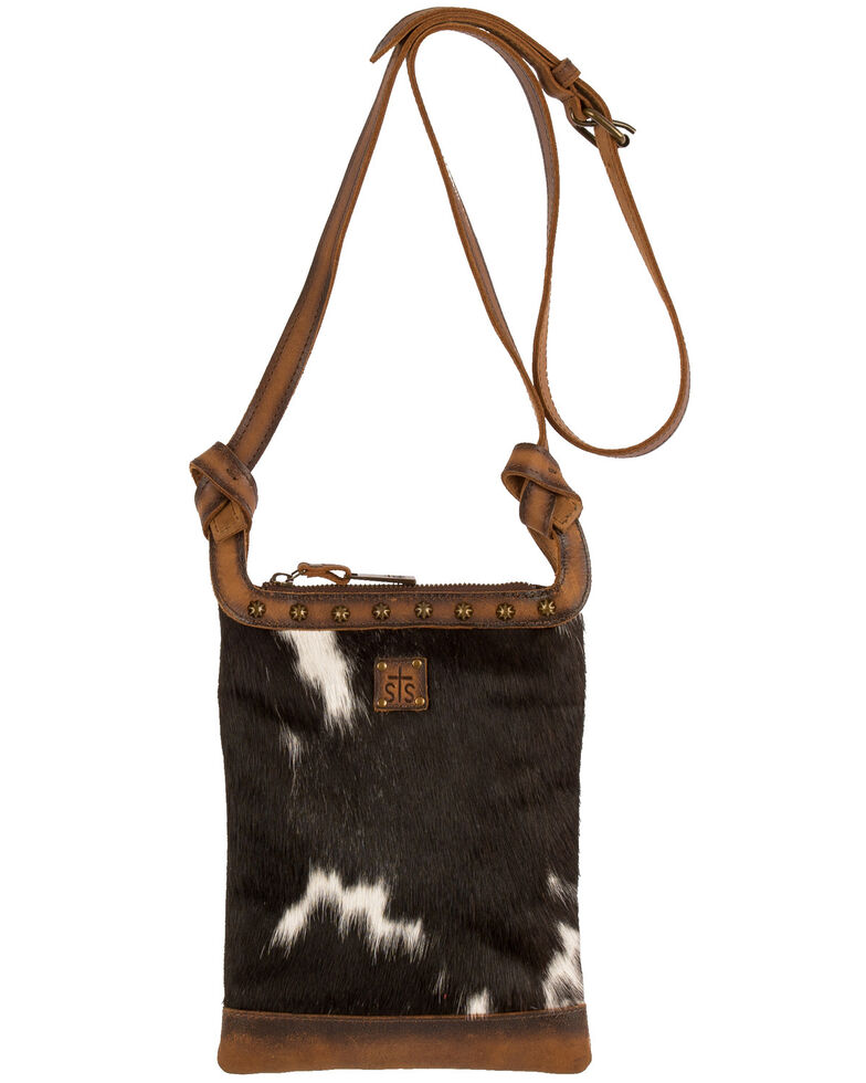 STS Ranchwear Women's Classic Cowhide Crossbody Bag, Black, hi-res