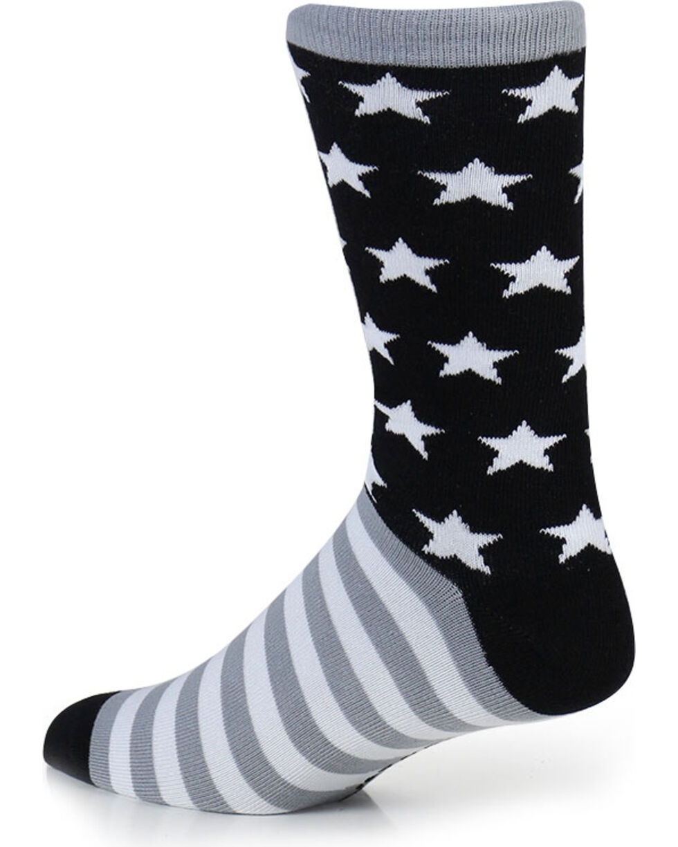 Cody James® Men's Stars And Stripes Crew Socks, Black, hi-res