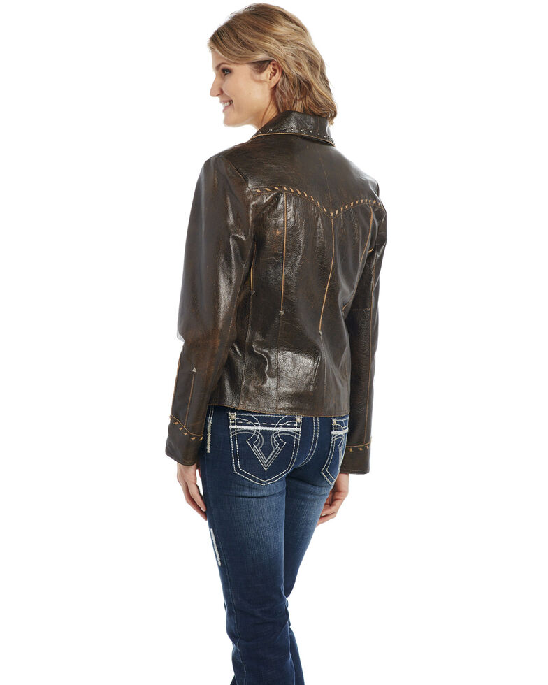 Cripple Creek Women's Coffee Bean Leather Jacket , Brown, hi-res