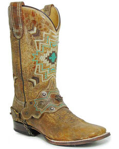Roper Women's Shaft Embroidery Western Boots - Square Toe, Tan, hi-res