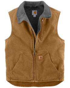 Carhartt Sherpa Lined Sandstone Duck Work Vest, Carhartt Brown, hi-res