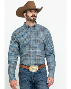 Cinch Men's Grey Large Plaid Long Sleeve Western Shirt , Grey, hi-res