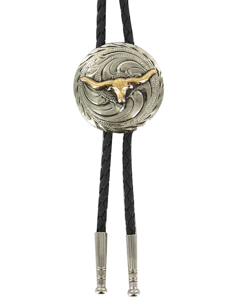 Cody James® Men's Steer Head Bolo Tie, Silver, hi-res