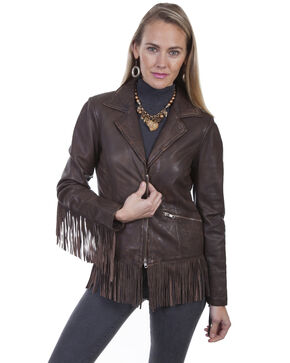 Leatherwear By Scully Women's Fringe Leather Jacket , Dark Brown, hi-res