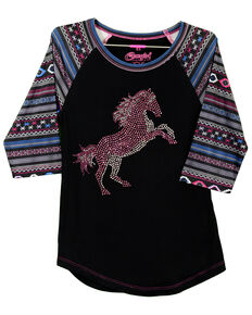 Cowgirl Hardware Toddler Girls' Crystal Stormy Horse Raglan, Black, hi-res