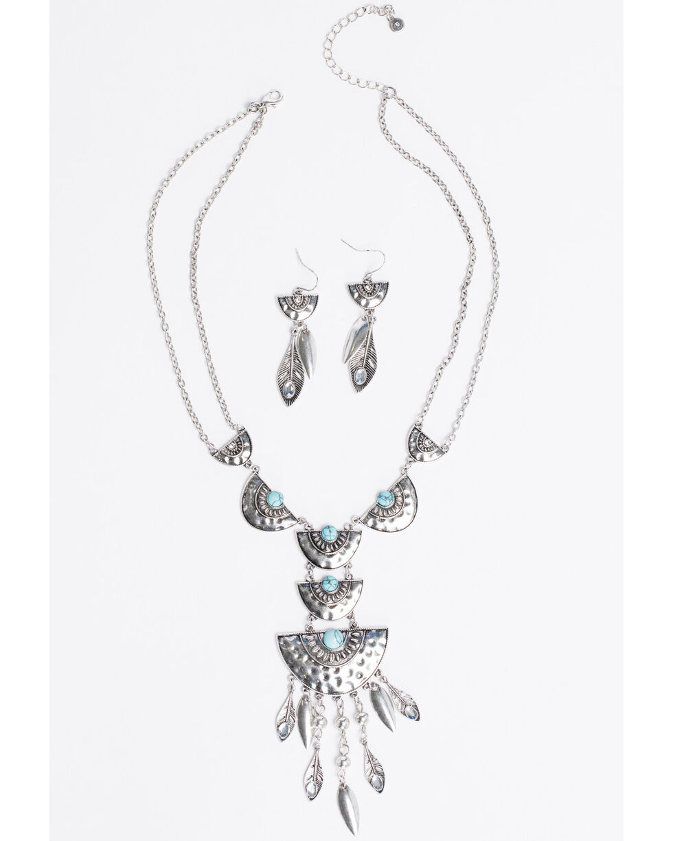 Shyanne Women's Bella Hammered Geo Fringe Necklace Set, Silver, hi-res