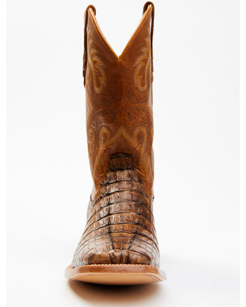 Cody James Men's Exotic Caiman Tail Skin Western Boots - Wide Square Toe, Brown, hi-res