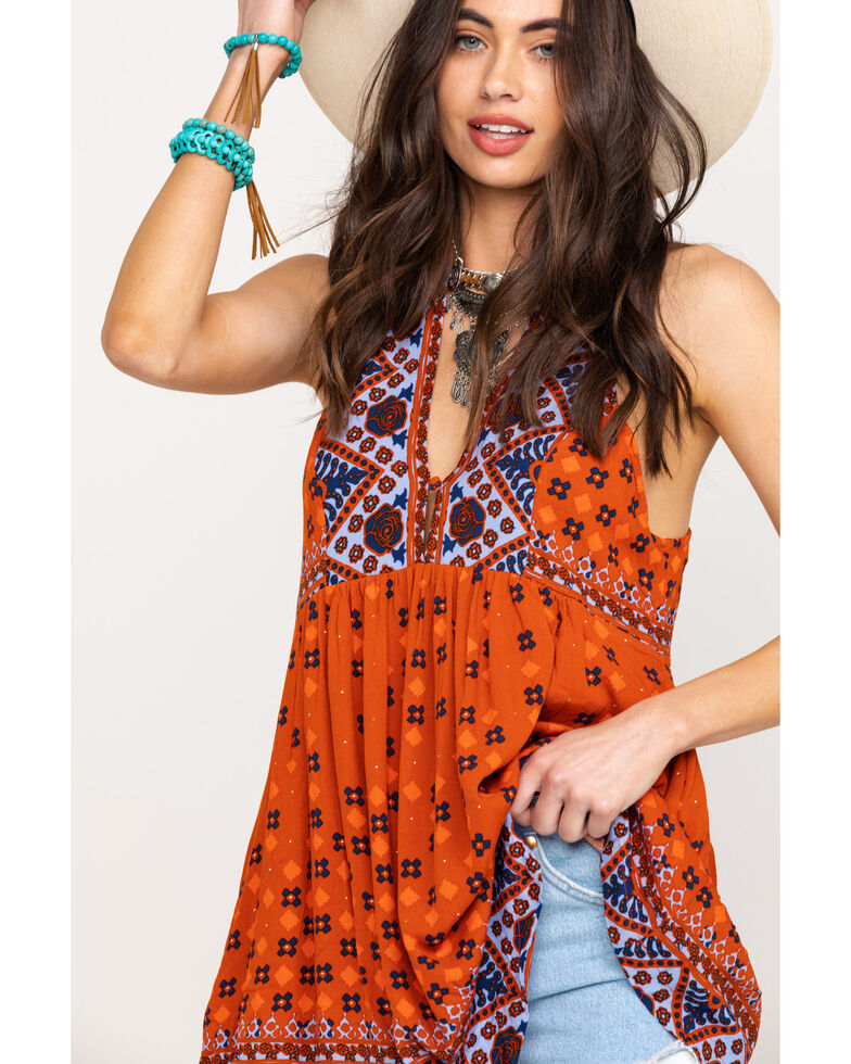 Free People Women's Charlotte Sleeveless Top, Orange, hi-res