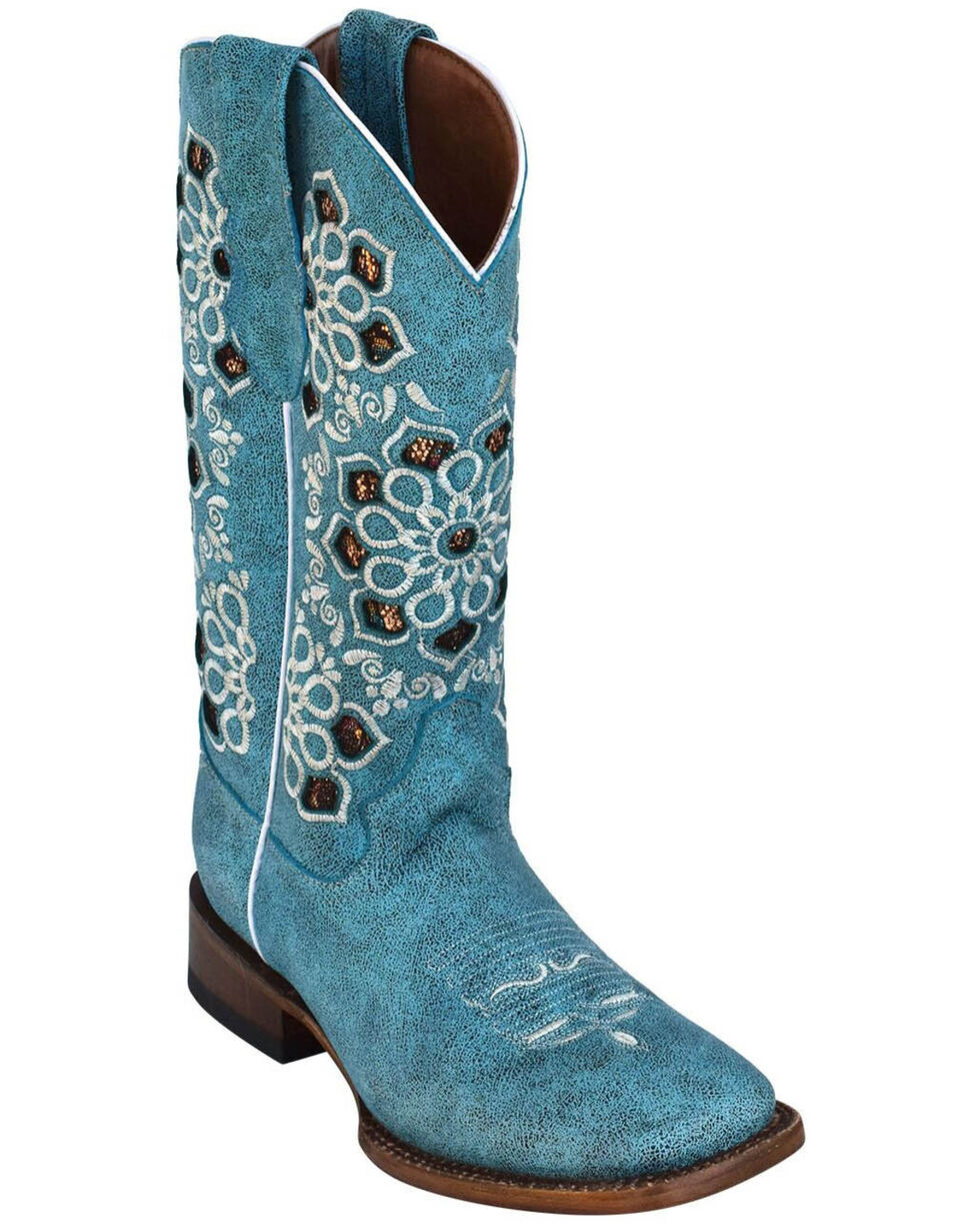 Ferrini Women's Country Glam Western Boots - Square Toe, Turquoise, hi-res
