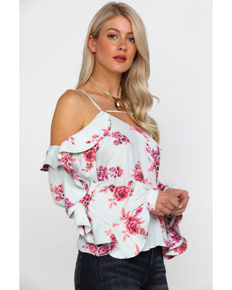 Rock & Roll Cowgirl Women's Floral Cold Shoulder Ruffle Top, Light Green, hi-res