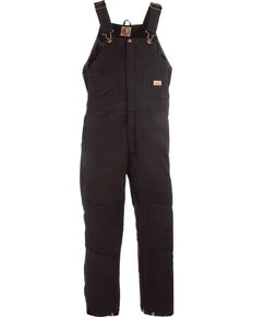 Berne Women's Washed Insulated Bib Overalls - 3X & 4X Tall, Black, hi-res