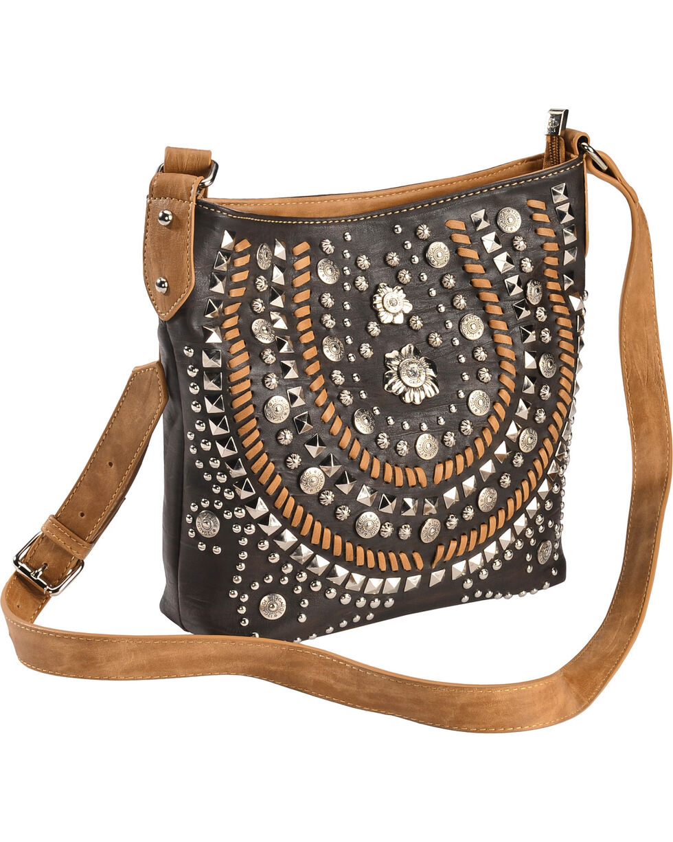 Montana West Women's Coffee Concealed Carry Horseshoe Crossbody Bag , Brown, hi-res
