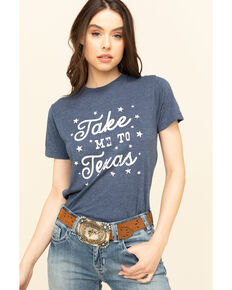 Ali Dee Women's Heather Navy Take Me To Texas Graphic Tee, Navy, hi-res
