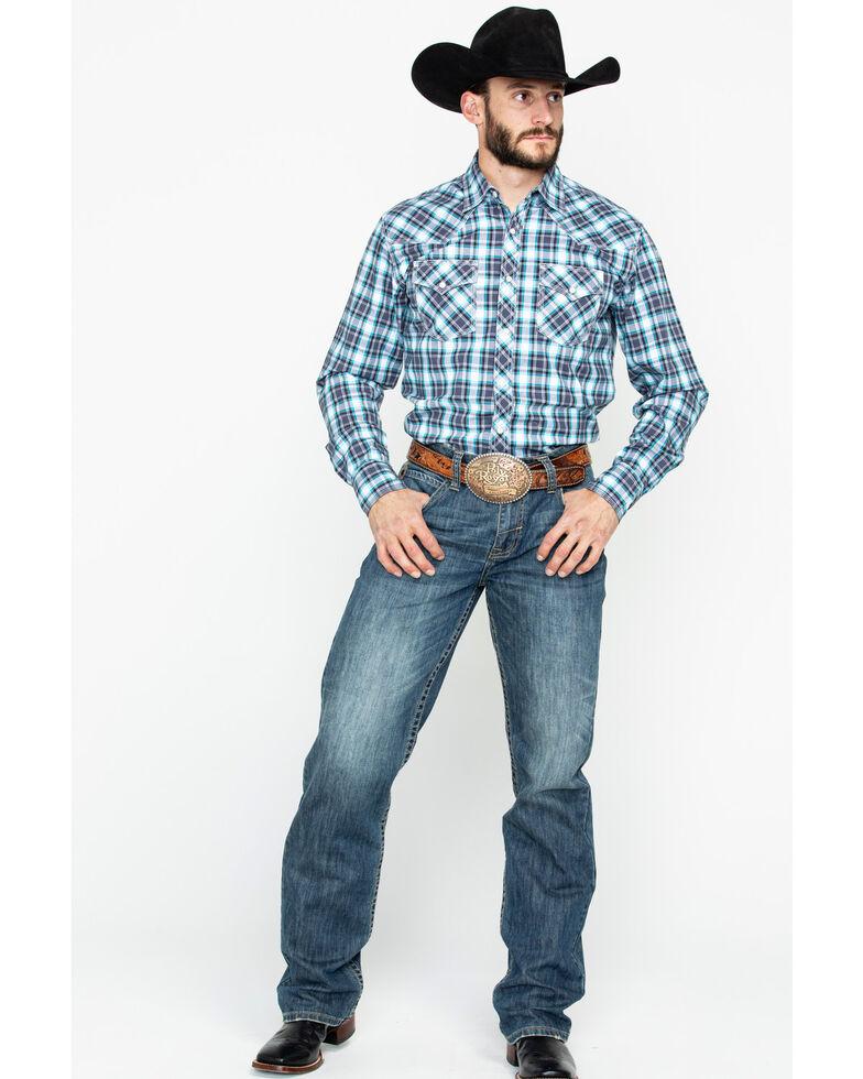 Wrangler 20X Men's Black Plaid Advanced Comfort Long Sleeve Western Shirt, Black, hi-res