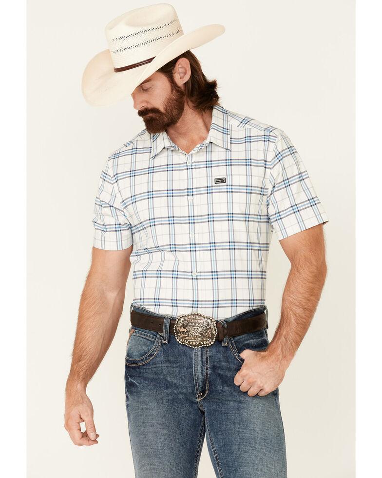 Kimes Ranch Men's White Pinhurst Large Plaid Coolmax Short Sleeve Button-Down Western Shirt , White, hi-res