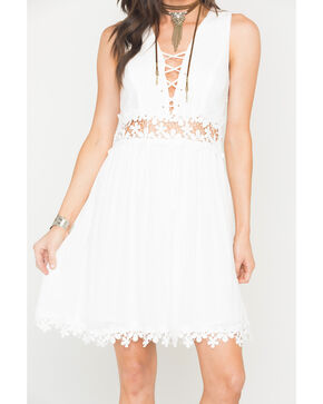 Blush Noir Women's Lace Up Dress , White, hi-res