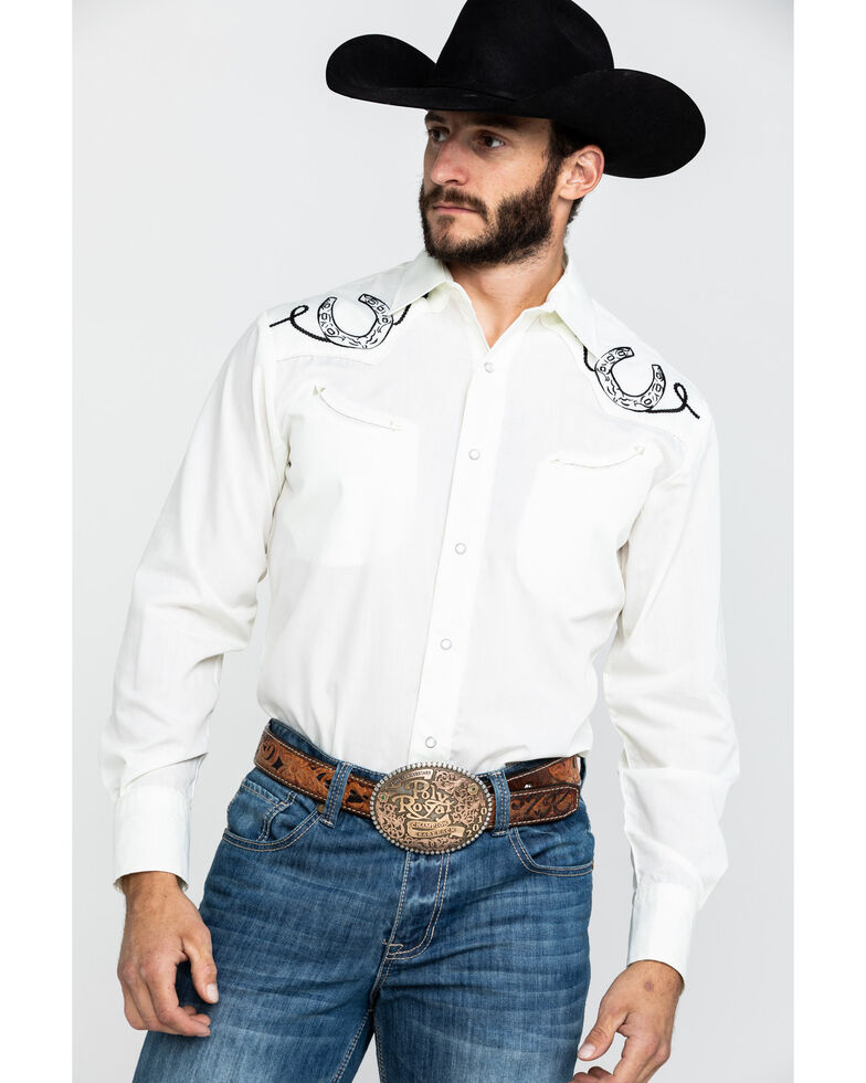 Roper Men's Cream Solid Horseshoe Embroidered Long Sleeve Western Shirt , White, hi-res