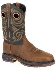 Georgia Boot Men's Carbo-Tec LT Waterproof Western Work Boots - Steel Toe, Black/brown, hi-res