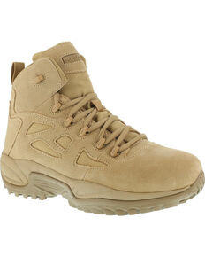 "Reebok Men's Stealth 6"" Lace-Up Side Zip Work Boots - Soft Toe, Desert Khaki, hi-res"