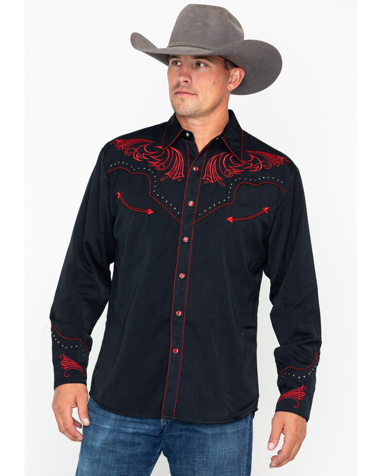 Scully Men's Red Embroidered Long Sleeve Western Shirt , Black/red, hi-res
