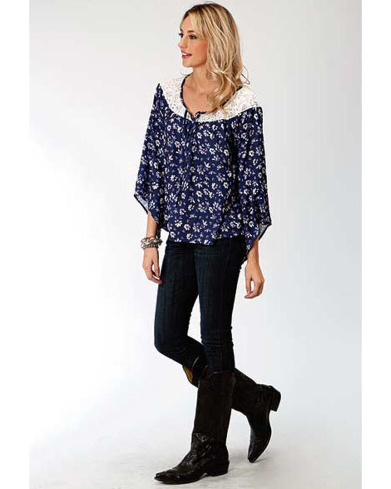 Studio West Women's Steel Magnolias Print Lace Yoke Blouse, Blue, hi-res