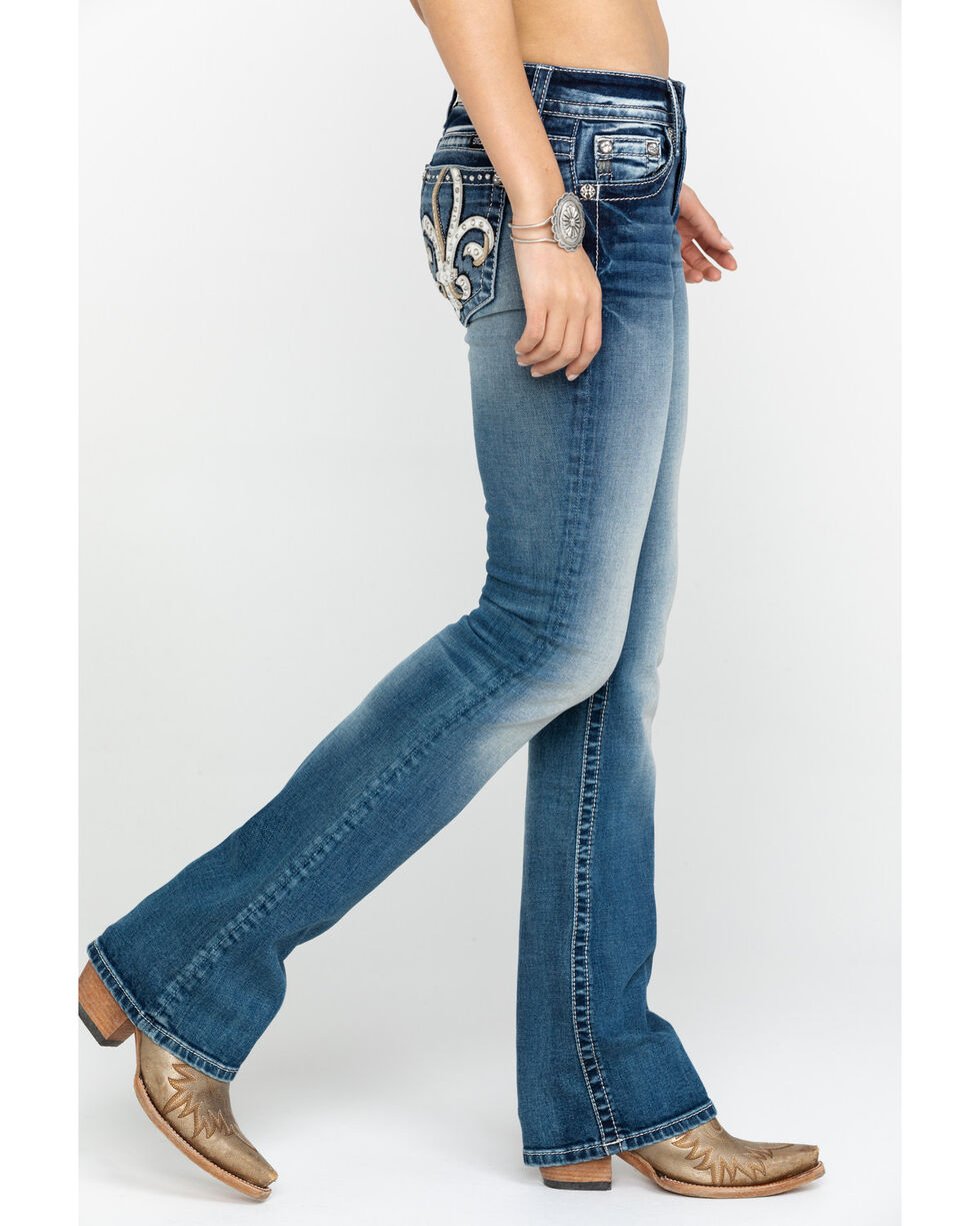Miss Me Women's Fluer Light Boot Jeans , Blue, hi-res