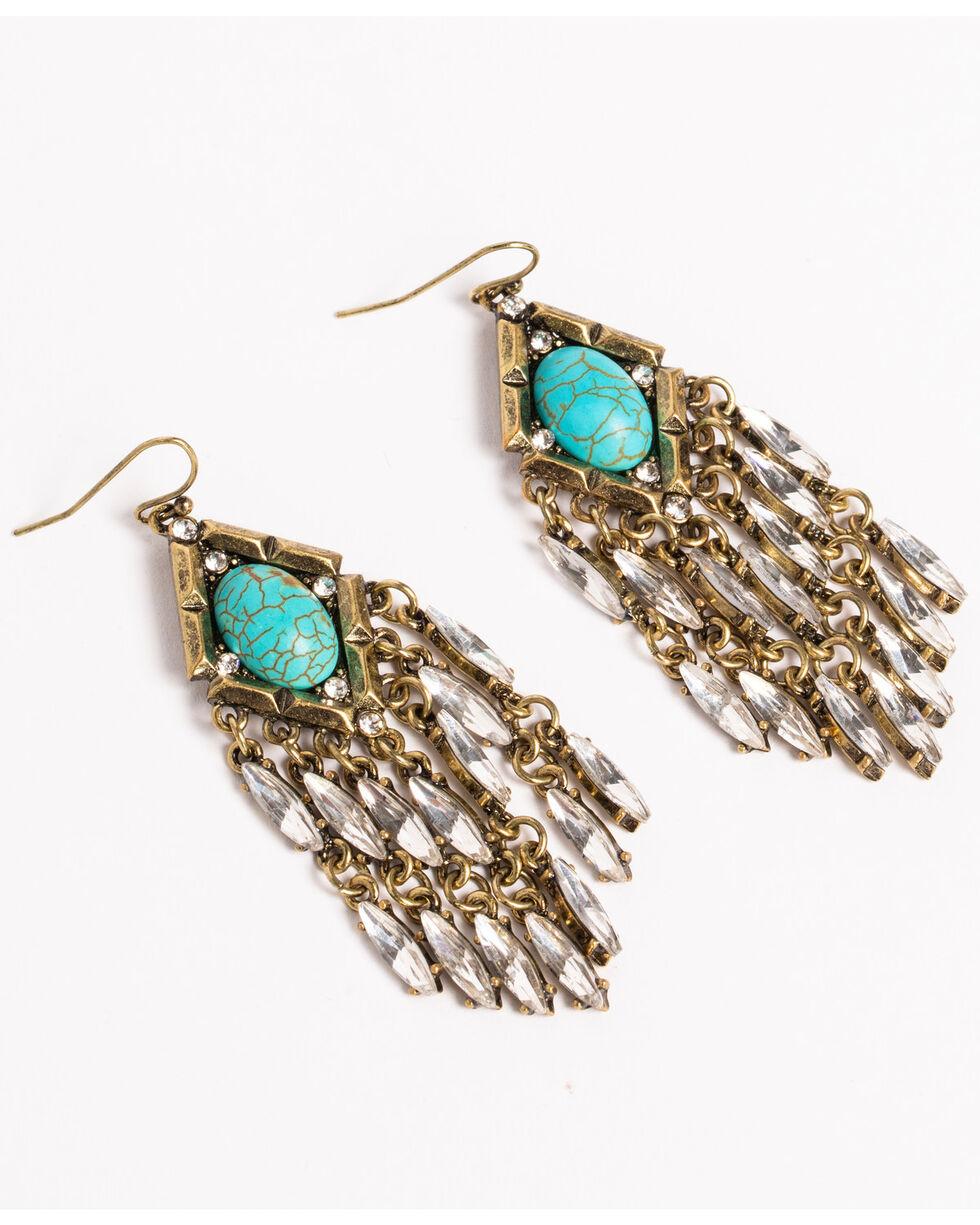 Shyanne Women's Turquoise Crystal Chandelier Earrings, Gold, hi-res