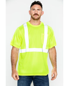 Hawx Men's Short Sleeve Reflective Work Tee - Big & Tall, Yellow, hi-res
