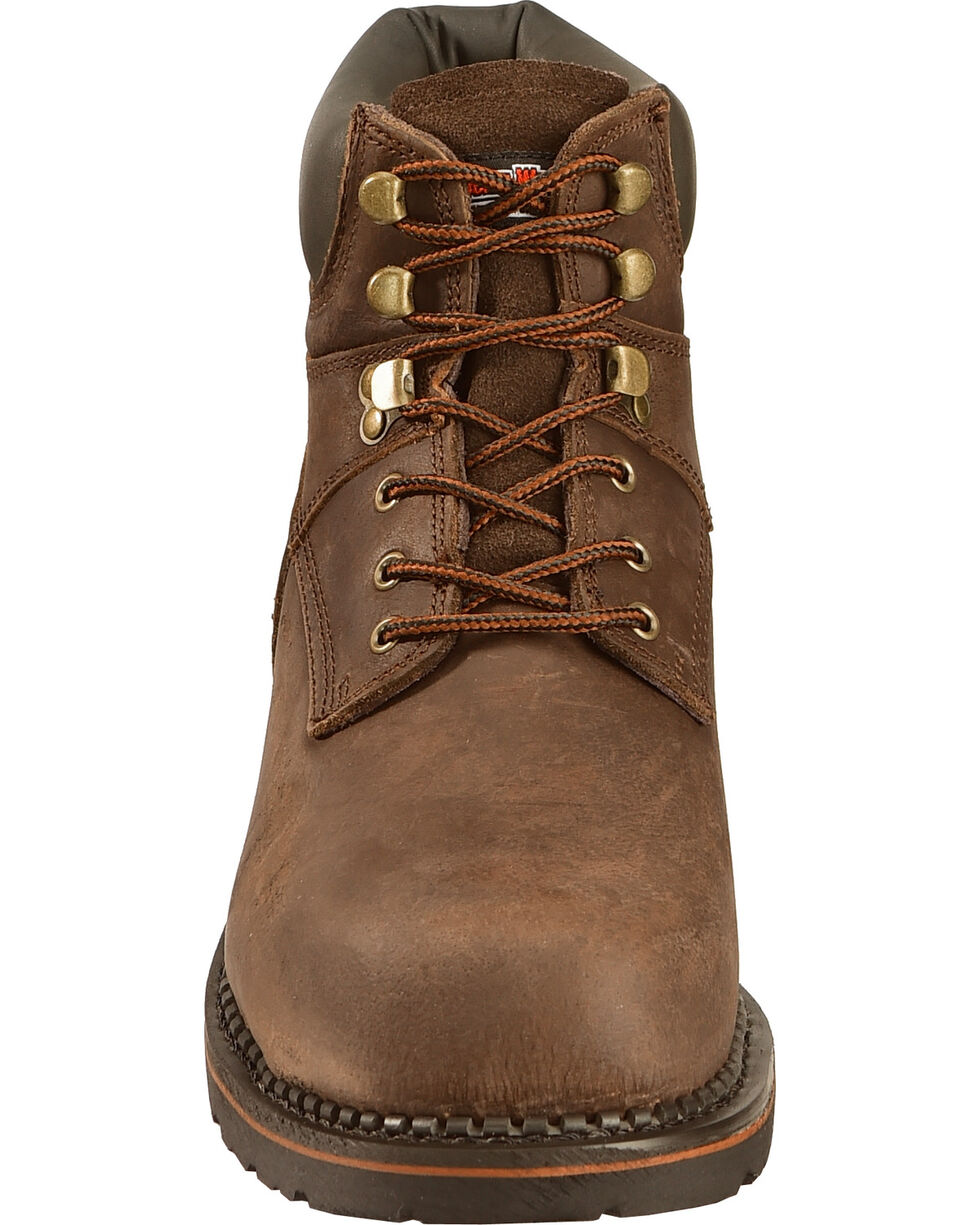 American Worker® Men's Steel Toe Work Boots, Dark Brown, hi-res