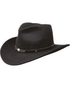 Black Creek Men's Crushable Wool Felt Hat, Black, hi-res