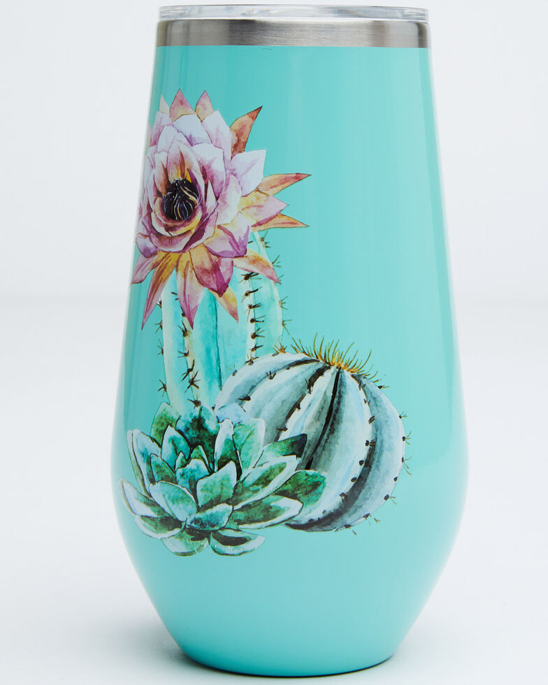 New Creations Women's 16oz Cactus Flowers Stemless Wine Bottle, Turquoise, hi-res