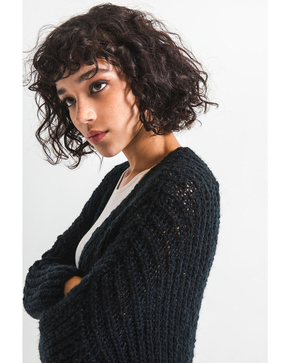 Rag Poets Women's Cable Knit Pocket Cardi Sweater , Black, hi-res