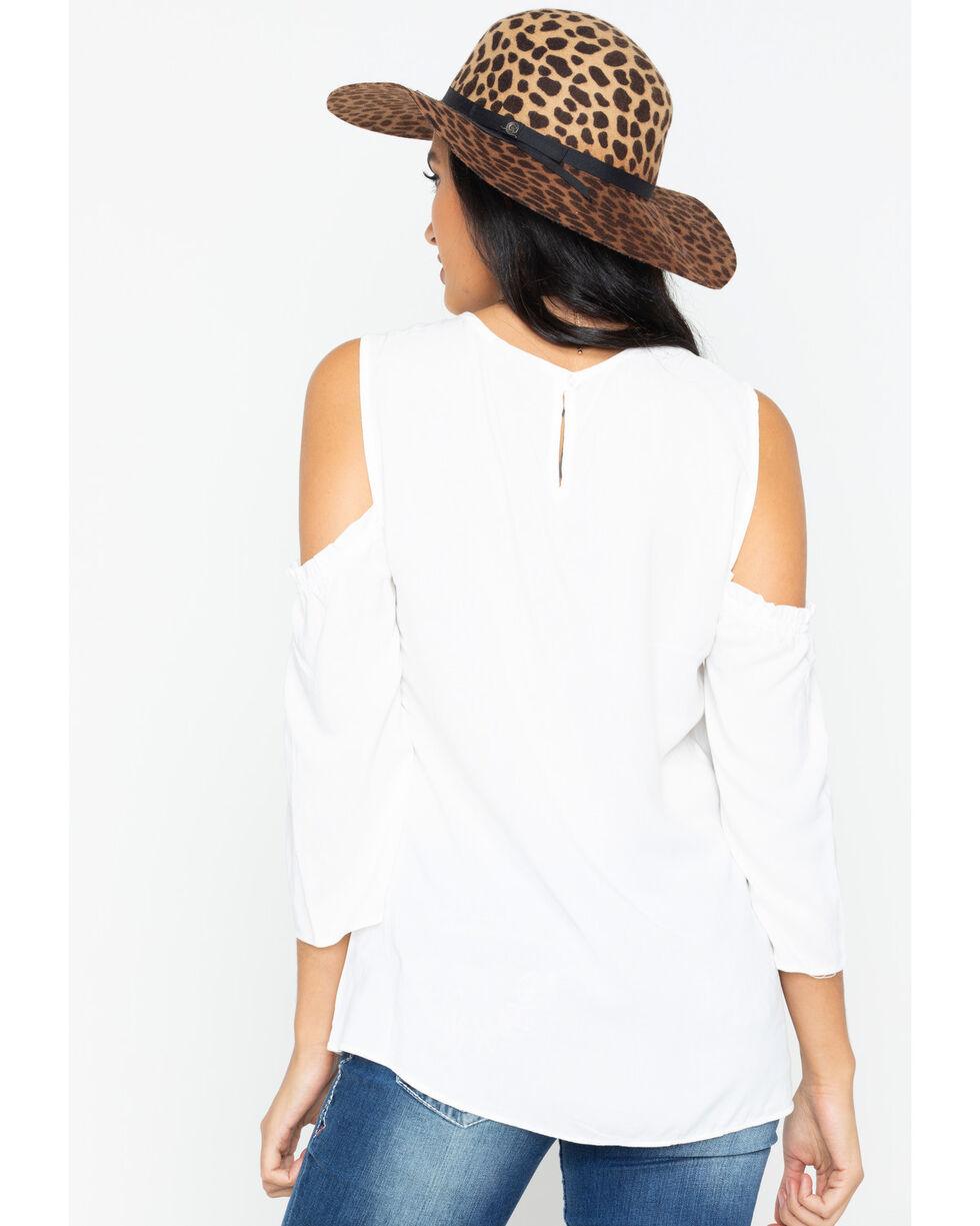 Wrangler Women's Retro Challis Embroidered Cold Shoulder Peasant Top, Ivory, hi-res