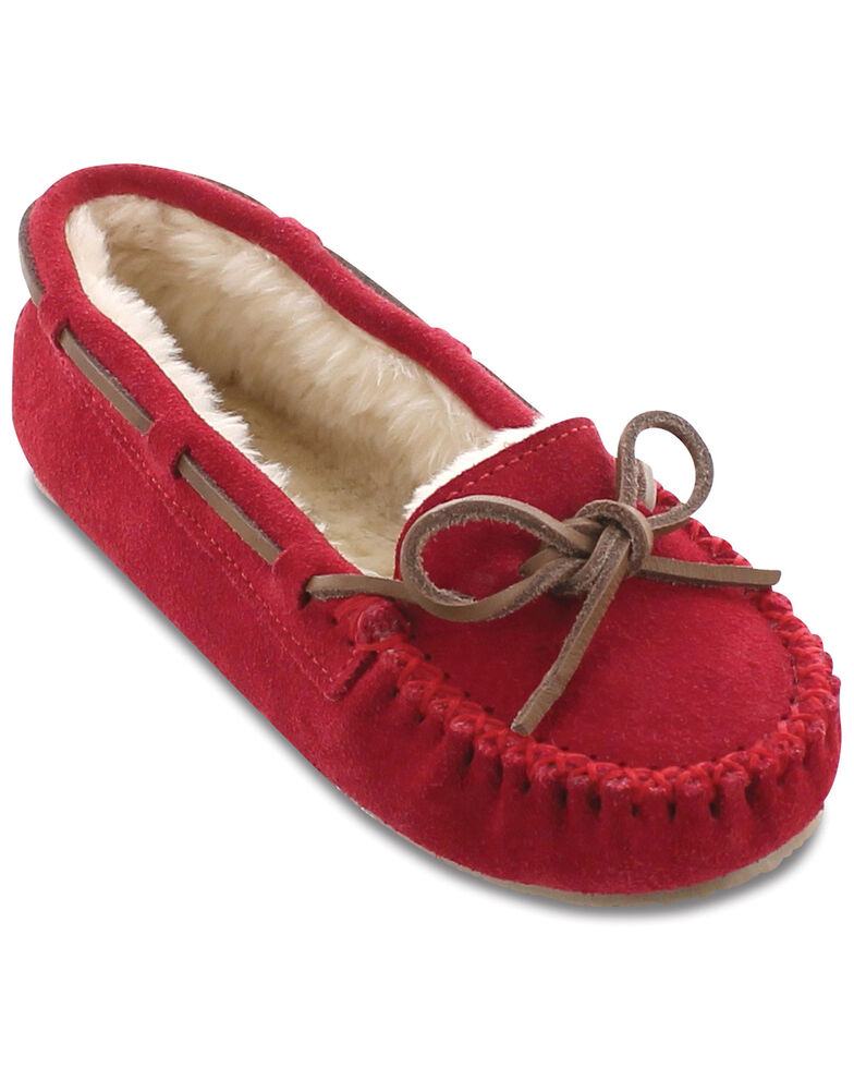 Minnetonka Cally Lined Slipper Moccasins, Red, hi-res