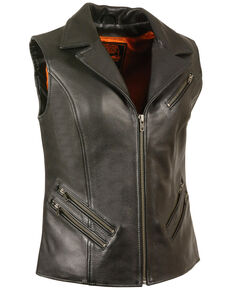 Milwaukee Leather Women's Lapel Collar Long Zipper Front Vest - 5X, Black, hi-res