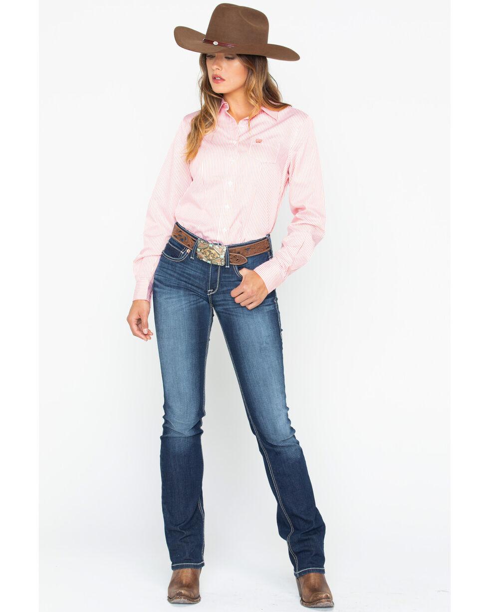 Cinch Women's Coral Stripe Button Down Core Western Shirt , Coral, hi-res