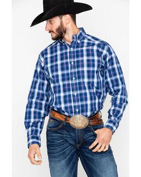 Ariat Men's Achman Plaid Long Sleeve Western Shirt - Tall, Blue, hi-res