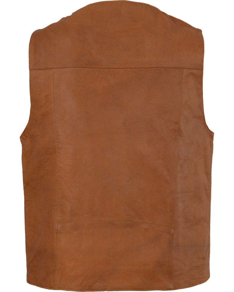 Milwaukee Leather Men's Western Plain Side Vest - Big 4X , Tan, hi-res