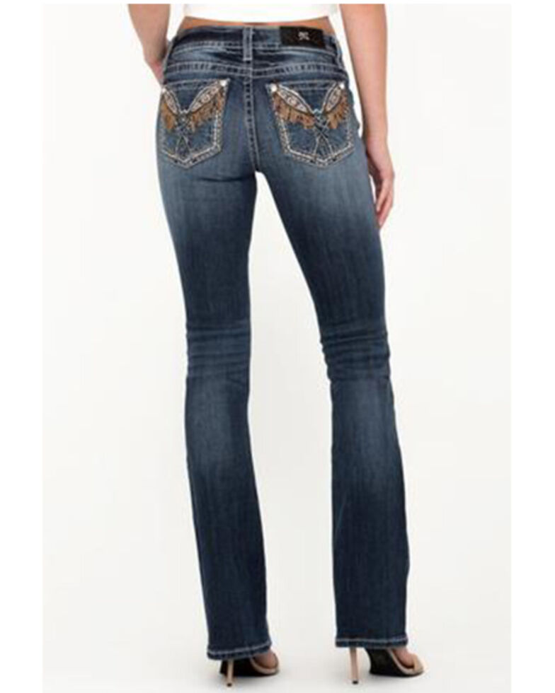 Miss Me Women's Chloe Embroidered Fringe Bootcut Jeans , Blue, hi-res
