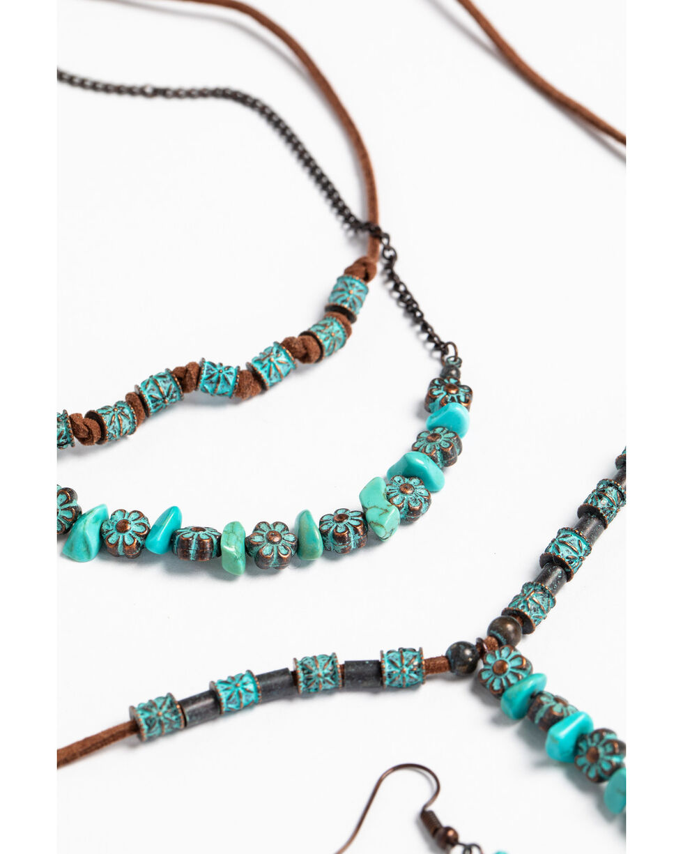 Shyanne Women's Patina Crescent Tassel Beaded Necklace Set, Turquoise, hi-res