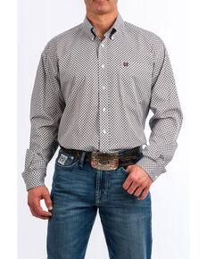 Cinch Men's White Diamond Geo Print Long Sleeve Western Shirt , White, hi-res