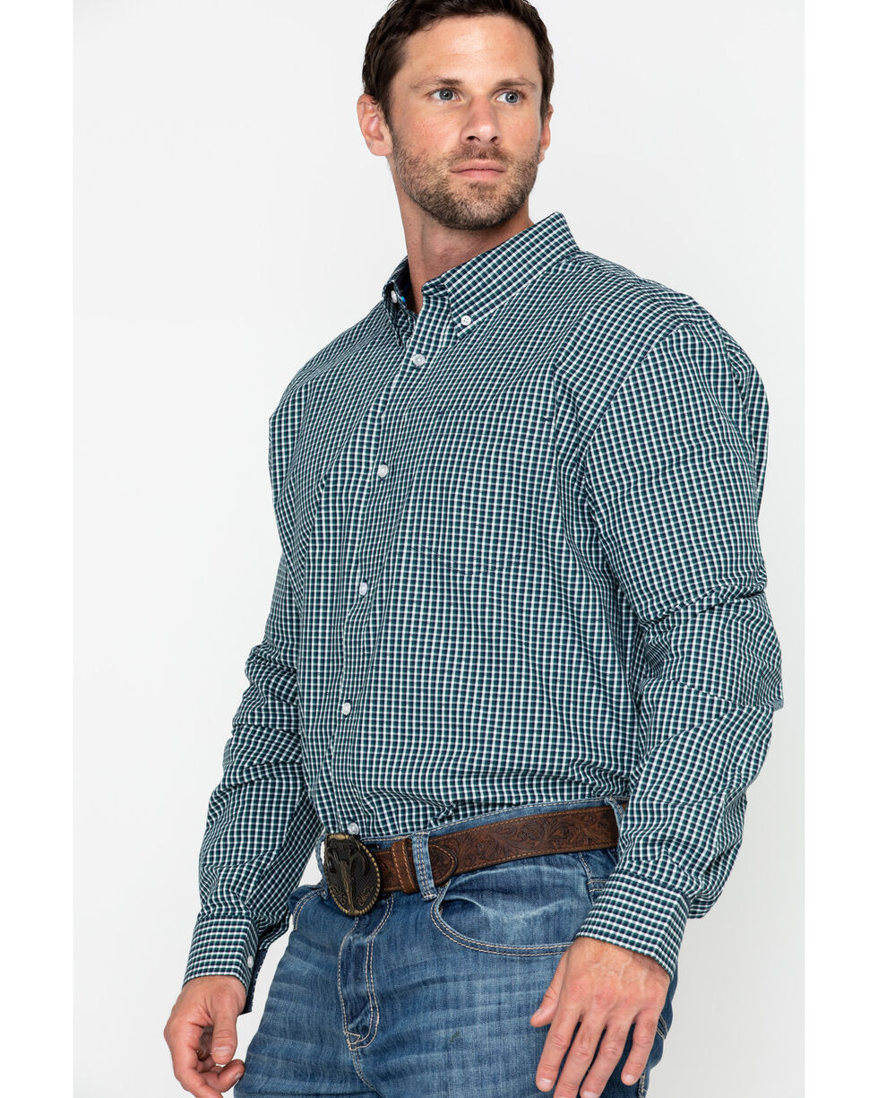 Cody Core Men's Muldoon Small Check Plaid Long Sleeve Western Shirt - Tall , Navy, hi-res