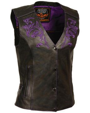 Milwaukee Leather Women's Reflective Tribal Design Vest - 4X, Black/purple, hi-res